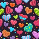 Seamless pattern with cute cartoon bright hearts Stock Photo
