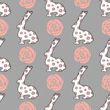 Seamless pattern with cute cartoon bunny and rose. Baby pattern Royalty Free Stock Image