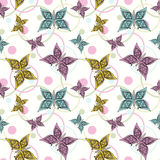 seamless pattern, cute cartoon  butterflies white background Stock Images