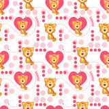 Seamless pattern with cute cartoon cat and heart. Baby pattern. Stock Photo