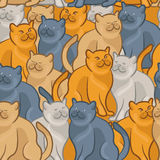 Seamless pattern of cute cartoon cats.  illustration Stock Photo