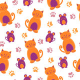 Seamless pattern with cute cartoon cats, mice and paws. Stock Photography