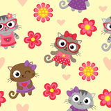 Seamless pattern with cute cartoon cats Royalty Free Stock Image