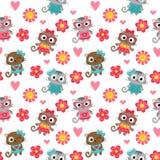 Seamless pattern with cute cartoon cats Stock Photos