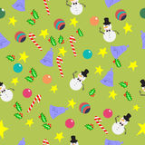 Seamless pattern with cute cartoon Christmas Royalty Free Stock Photography