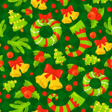 Seamless pattern with cute cartoon Christmas mittens, candy cane, holly berries, smiling snowman and red stocking xmas. Seamless pattern with cute cartoon vector illustration