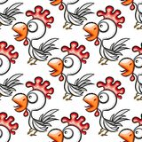 Seamless pattern with cute cartoon cocks. Vector background Royalty Free Stock Photo