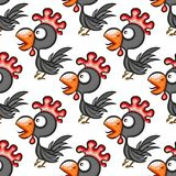 Seamless pattern with cute cartoon cocks. Vector background Royalty Free Stock Photos