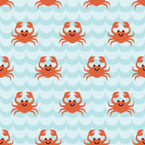 Seamless pattern with cute cartoon crabs Royalty Free Stock Image