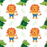 Cute cartoon crocodile and lion Stock Photo
