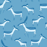 Seamless pattern with cute cartoon deer family Royalty Free Stock Photography