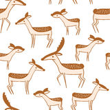 Seamless pattern with cute cartoon deer family Stock Image