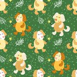 Seamless pattern with cute dogs Stock Images