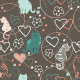 Seamless pattern with cute cartoon doodle cats on brown background. Little colorful kittens. Funny animals. Children`s Royalty Free Stock Image