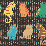 Seamless pattern with cute cartoon doodle cats on brown dotted digital background. Little colorful kittens. Funny Royalty Free Stock Image