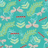 Seamless pattern cute cartoon dragonfly and plants Royalty Free Stock Images