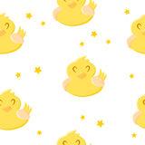 Seamless pattern with cute cartoon duck and stars. Ornament for children`s textiles and wrapping. Vector background Royalty Free Stock Images