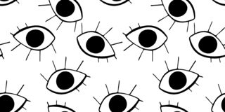 Seamless pattern with  cute cartoon eyes in abstract style. Black graphic drawnig of eyeballs with eyelashes on white background. royalty free illustration