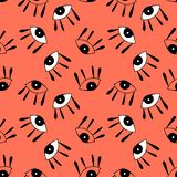 Seamless pattern with  cute cartoon eyes in abstract style. vector illustration
