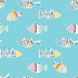 Seamless pattern cute cartoon fish Stock Photography
