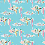 Seamless pattern cute cartoon fish Stock Photos