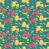 Seamless pattern with cute cartoon fish. Bubbles and seaweed on color background Royalty Free Stock Photo