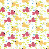 Seamless pattern with cute cartoon fish. Bubbles and seaweed on white background Royalty Free Stock Photos