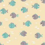 Seamless pattern with cute cartoon fishes Royalty Free Stock Photos