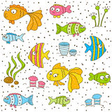 Seamless pattern with cute cartoon fishes. On white Stock Illustration