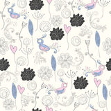 Seamless pattern. With cute cartoon flowers and birds Stock Photos