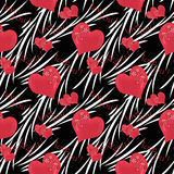 Seamless pattern , cute cartoon flowers ,hearts black background Royalty Free Stock Photography