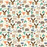 Seamless pattern with cute cartoon forest animals on beige backg Royalty Free Stock Photos