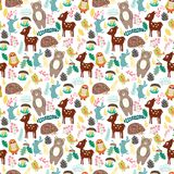 Seamless pattern with cute cartoon forest animals on beige backg Stock Image