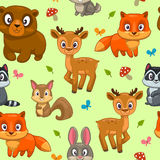 Seamless pattern with cute cartoon forest animals Royalty Free Stock Photography