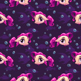Seamless pattern with cute cartoon girl fish Royalty Free Stock Photo