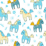 Seamless pattern with cute cartoon horses and flowers. Stock Photography