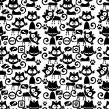 Seamless pattern with cute cartoon kittens Royalty Free Stock Image