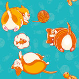 Seamless pattern with cute cartoon kittiess playing with skein of yarn and rattle. Stock Image