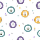 Seamless pattern with cute cartoon lions. Baby print. Seamless pattern with cute cartoon lions. Vector doodle illustration for kids. Baby print vector illustration