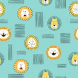Seamless vector pattern with cute cartoon lions. Seamless pattern with cute cartoon lions. Vector illustration stock illustration