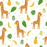 Seamless pattern with cute cartoon little giraffe. Children background. Cartoon baby animals. Design for textile, fabric or decor Stock Photos