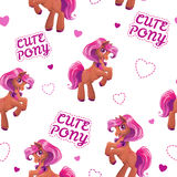 Seamless pattern with cute cartoon little horse Stock Photography