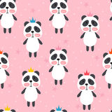 Seamless pattern with cute cartoon little panda. Children background. Cartoon baby animals. Design for textile, fabric or decor. Vector illustration Royalty Free Stock Photos