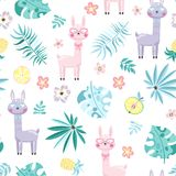Seamless pattern with llama and plants. Seamless pattern with cute cartoon llama and exotic flowers and plants. Vector illustration Stock Photos