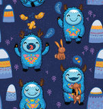 Seamless pattern with cute cartoon monsters Royalty Free Stock Photos