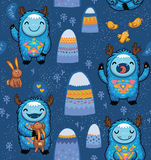 Seamless pattern with cute cartoon monsters Stock Photography