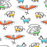 Seamless pattern with cute cartoon mythical beasts Stock Images
