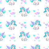 Seamless pattern with cute cartoon pegasus. Character and hearts. Vector childish texture Stock Photo