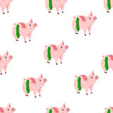 Seamless pattern with cute cartoon pigs for your design Stock Photography