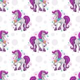 Seamless pattern with cute cartoon pretty fantasy unicorn. Girlish background template. Lovely childish texture. Pretty pony seamless vector illustration stock illustration
